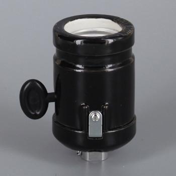 1/8ips Threaded Cap Black Antique Style ON-OFF Key Porcelain lamp socket with Clamp On Shoulder