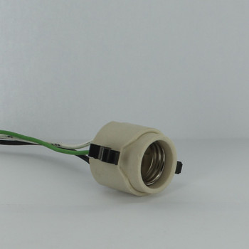 Leviton - E-26 Porcelain Snap-In Socket for Hi-Hat Grounded with High Temperature 45in. Leads