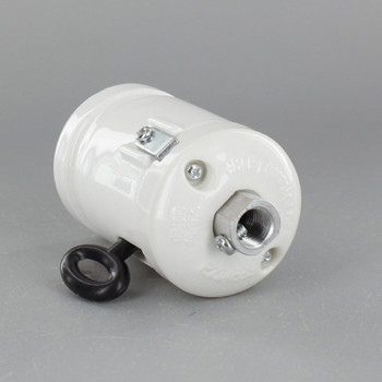 1/8ips Threaded Cap Antique Style ON-OFF Key Porcelain lamp socket with Clamp On Shoulder