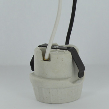 Leviton - E-26 Base Porcelain Snap-In Socket with Spring Clip and Leads
