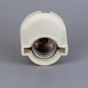 E-26 Porcelain Cleat Lamp Socket with Threaded 8/32 Mounting Eyelets and Wire Way for Flush Mounting