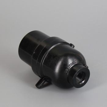 Leviton - Black E-26 Phenolic Smooth Skirt Push Through Socket with 1/8ips. Bottom