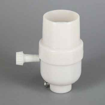 White E-26 Phenolic Smooth Skirt 3-Way Turn Socket with 1/8ips. Bottom.