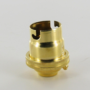 Unfinished Brass European Bayonet B22 Base Solid Brass Lamp Socket with 1/8ips. Threaded Cap