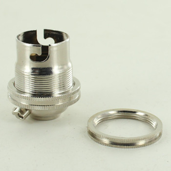 Polished Nickel Finish European Bayonet B22 Base Solid Brass Lamp Socket with Shade Ring