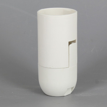 E-12 White Smooth Skirt Thermoplastic Lamp Socket with 1/8ips Threaded Cap and Locking Setscrew