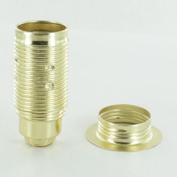 Brass Plated Finish E-14 European Threaded Skirt Socket with Ring