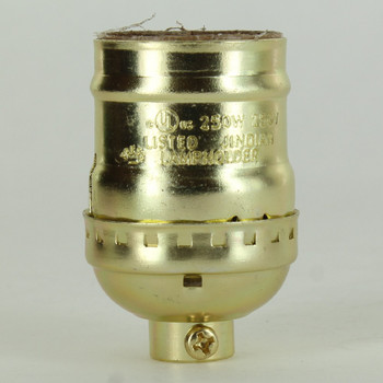 Keyless Brass Plated E-26 Base Lamp Socket with 1/8ips Cap and Set Screw