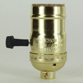 3-Way Turn Knob Brass Plated E-26 Base Lamp Socket with 1/8ips Cap and Set Screw