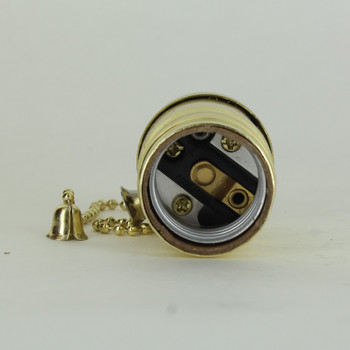 On-Off Pullchain Switch Brass Plated E-26 Base Lamp Socket with 1/8ips Cap and Set Screw