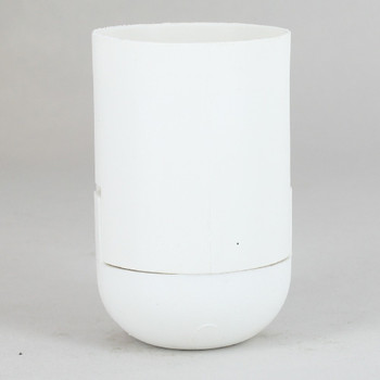 E-27 White Smooth Skirt Thermoplastic Lamp Socket with 1/8ips Threaded Cap and Locking Setscrew