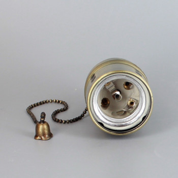 ANTIQUE BRASS FINISH E27 BASE PULL CHIAN SWITCH LAMP SOCKET WITH 1/8IPS THREADED CAP. CE RATED.