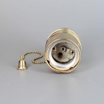 POLISHED BRASS PLATED FINISH E27 BASE PULL CHAIN SWITCH LAMP SOCKET