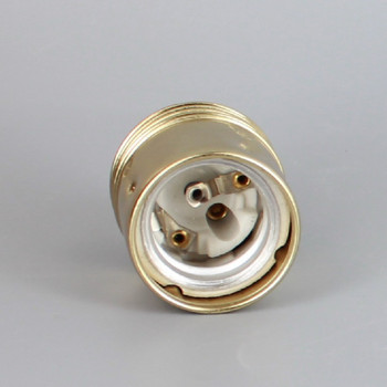 Polished Brass Finish European E-27 Grounded Metal Socket