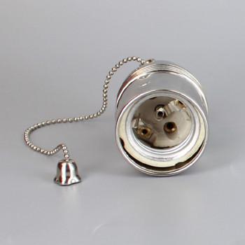 POLISHED NICKEL FINISH E27 BASE PULL CHIAN SWITCH LAMP SOCKET