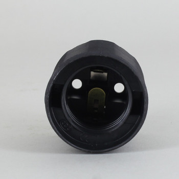 E-27 Black Fully Threaded Skirt Thermoplastic Lamp Socket Skirt.  Push Terminal Wire Connection