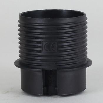 E-27 Black Threaded Skirt with Shade Rest Shoulder Thermoplastic Lamp Socket Skirt.