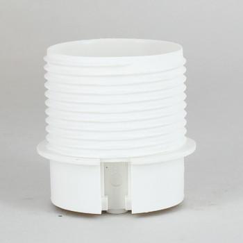 E-27 White Threaded Skirt with Shade Rest Shoulder Thermoplastic Lamp Socket Skirt