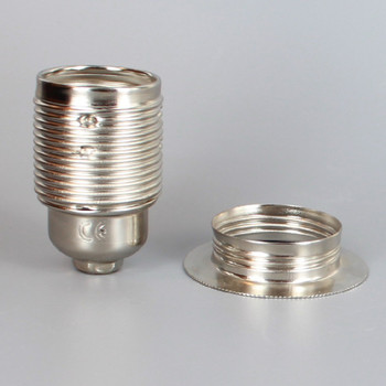 Nickel Plated Finish European E-27 Grounded Metal Threaded Skirt and Shade Ring Socket