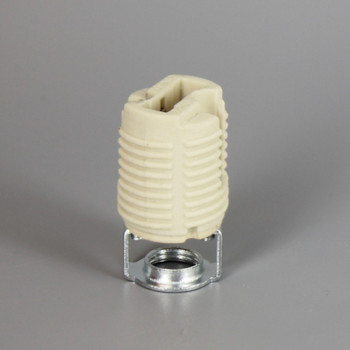 G-9 Porcelain Socket With Push Terminals And 1/8ips Hickey With Threaded Body
