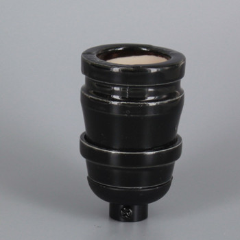 100 Year Anniversary Black Porcelain Antique Reproduction Keyless Lamp Socket with 1/8ips. Cap