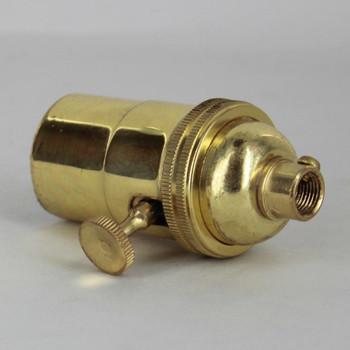 3-Way Turn Knob E-26 Socket with 1/8ips. Female Cap - Polished Brass Finish