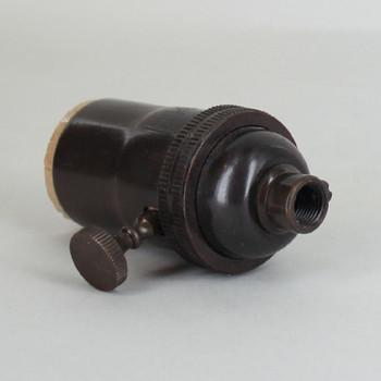 3-Way Turn Knob E-26 Socket with 1/8ips. Female Cap - Antique Bronze Finish