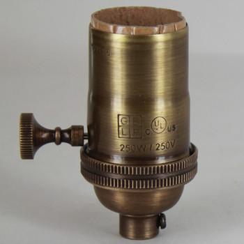 3-Way Turn Knob E-26 Socket with 1/8ips. Female Cap - Antique Brass Finish