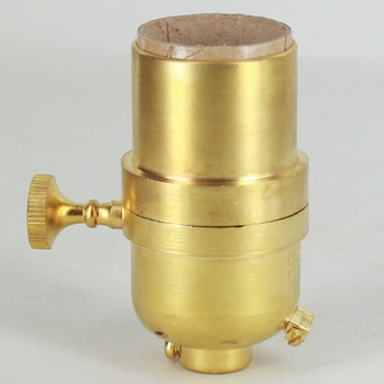 3-Way Round Key Smooth Shell Cast Lamp Socket - Unfinished Brass