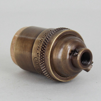 Antique Brass Finish Heavy Turned Brass Keyless E-26 Socket with 1/8ips. Cap and Ground Terminal