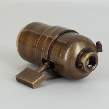 1-Way Square Key Smooth Shell Cast Lamp Socket - Antique Brass