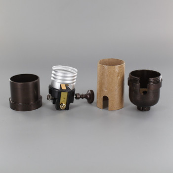 3-Way Round Key Smooth Shell Cast Lamp Socket - Oil Rubbed Bronze