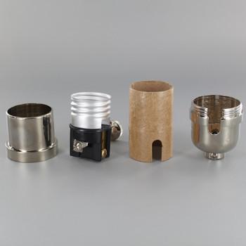 3-Way Round Key Smooth Shell Cast Lamp Socket - Polished Nickel