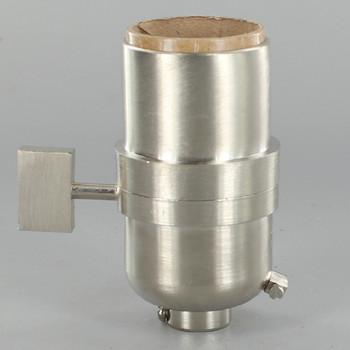 1-Way Square Key Smooth Shell Cast Lamp Socket - Satin Nickel