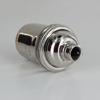 E-26 Keyless Socket with 1/8ips. Female Threaded Cap - Polished Nickel Finish