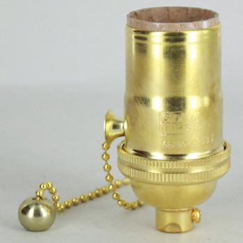 E-26 1-Way Pull Chain Switch Lamp Socket - Unfinished Brass