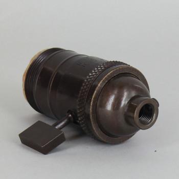Antique Bronze Finish E-26 Uno Threaded Single Turn Antique Style Paddle Turn Knob Socket