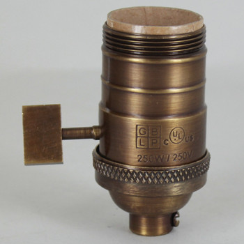 Antique Brass Finish E-26 Uno Threaded Single Turn Antique Style Paddle Turn Knob Socket