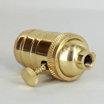 3-Way Rotary Turn Knob E-26 Socket with 1/8ips. Female Cap and Set Screw - Polished Brass Finish