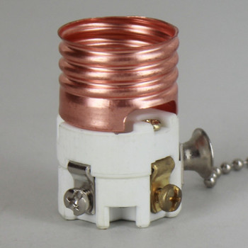 E-26 Porcelain Socket Interior with Polished Nickel Pull Chain and Ball