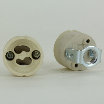 GU10 Lamp Socket with Push Terminal Wire Connections and 1/8ips Threaded Hickey