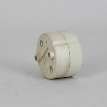 GU10 Porcelain Round Socket With Mounting Holes And Push Terminal Wire Connections