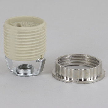GU10 Threaded Skirt  Lamp Socket with 1/8ips Threaded Hickey and Zinc Diecast Metal Shade RIng. Push