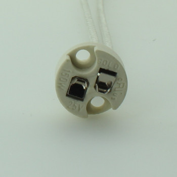 G4, G5.3, and G6.35 Spring Loaded Bi-Pin Porcelain Socket with Recessed Holes