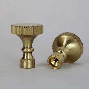 Polished Brass Finish Turned Knurled Socket Knob with 4/36 Thread