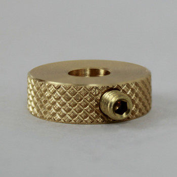 1/4in Diamond Knurled Slip Ring - Slips 1/4-20 and 1/4-27 UNC Solid Rod - Unfinished Brass