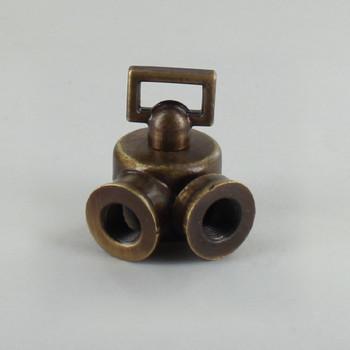 1/8ips Female X 1/8ips Female Threaded Antique Brass Finish Cast Key Swivel With Teeth