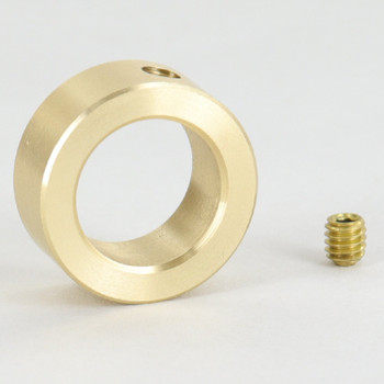 9/16in Straight Slip Ring With Set Screw - Unfinished Brass