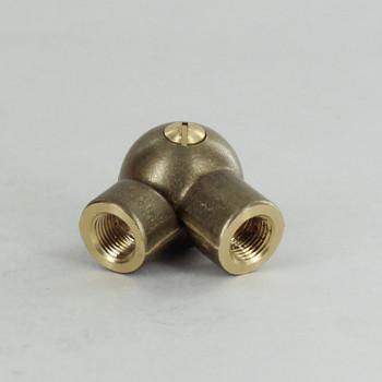 1/8IPS Female X 1/8IPS Female Threaded Unfinished Brass Adjustable Set Screw Ball Swivel with Teeth