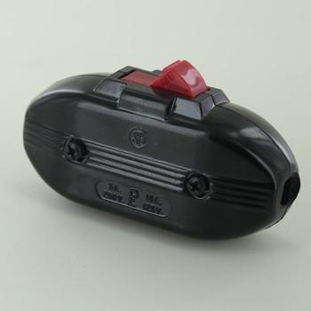 Heavy Duty Retro Style Single Pole Red Rocker Line Switch - Black